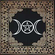"""Gold Bordered Triple Moon Pentagram Altar Cloth 24"""" X 24"""" #Mystic Book of Shadows, Witchcraft, Witchcraft for Beginners, Magick"""