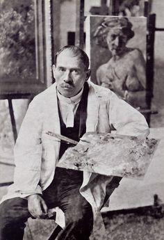 Painter Lovis Corinth in his atelier, Munich, 1929 -nd [+] [Ref.: Horst Uhr, Lovis Corinth, Berkeley, UC Press, 2009 - online E-book] fr...