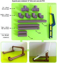 PVC PASSO A PASSO: Suporte para notebook e Ipad 13″ feito com cano de...