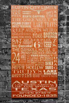 Austin Destinations Art  Ombre Style by jadedbliss on Etsy, $495.00