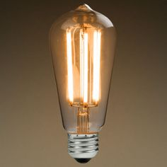 LED Antique Filament Bulb Edison Style ST58 6 Watt 60W Equivalent 2200K Warm White E26 Base Dimmable Amber Glass Finish