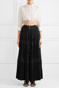 Alaïa - Laser-cut Pleated Cotton-blend Maxi Skirt - Black - FR