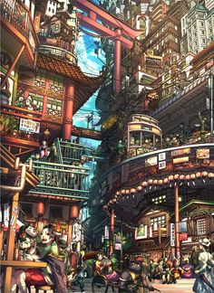 pixiv is an illustration community service where you can post and enjoy creative work. A large variety of work is uploaded, and user-organized contests are frequently held as well. Fantasy Art Landscapes, Fantasy Landscape, Landscape Art, Ville Cyberpunk, Cyberpunk Anime, Arte 8 Bits, Anime Scenery Wallpaper, Animal Wallpaper, Wallpaper Desktop