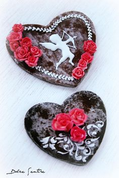 Black Marbled Heart Cookie with Cupid, Scrolls & Roses