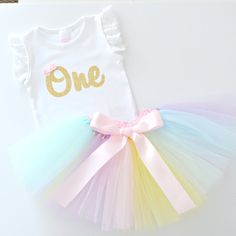 Pastel Rainbow Tutu & Gold Glitter 1st Birthday Outfit and Cake Smash Set