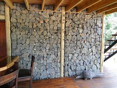 Gabion Walls: an inexpensive way to add stone wall to a project.