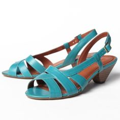 """Callow Ocean Sandal 69.99 at shopruche.com. Teal blue strappy sandals with a short heel are a unique addition for your shoe wardrobe. With an adjustable strap, and slightly padded sole these sandals will be comfortable throughout the day.  All man-made materials  2.25"""" heel  Slightly padded soles"""