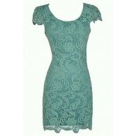 Nila Crochet Lace Capsleeve Pencil Dress in Sage