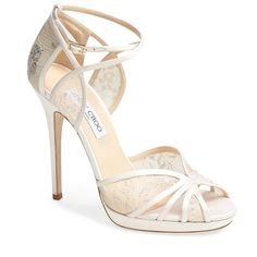 Women's Jimmy Choo 'Fayme' Lace Platform Sandal ($965) ❤ liked on Polyvore featuring shoes, sandals, heels, jimmy choo, white, platform sandals, jimmy choo shoes, platform heel sandals, strappy heel sandals and white shoes