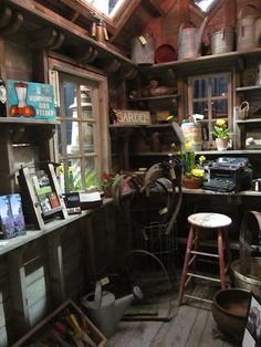 Garden shed full of fantastic vintage items -- Bob Bowling Rustics