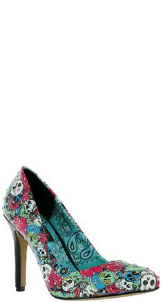Let your shoes do the talking in the flashy Tomb Sweeper Heels! #BlameBetty #Dayofthedead