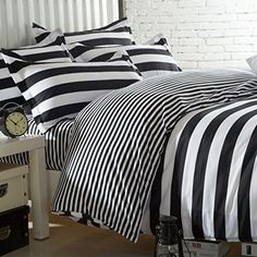 Amazon.com - Ttmall Twin Full Queen Size Cotton 4-pieces Black White Striped Prints Duvet Cover Set/bed Linens/bed Sheet Sets/bedclothes/bedding Sets/bed Sets/bed Covers/5-pieces Comforter Sets Bed in a Bag (Full, 4pcs Without Comforter) -