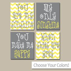 You Are My SUNSHINE Wall Art, Sunshine Chevron CANVAS or Prints Nursery Rhyme, Girl Quote Art, Baby Song Artwork Set of 4 Girl Bedroom Decor