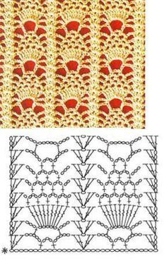 Reminds me of little lace pineapples :) This site has lots of knit and crochet stitch patterns.