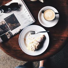 Some mornings a coffee on its own just won't cut it! We adore Instagrammer marsh_and_rowe's image of her coffee and almond croissant from Satis cafe in Watson. #restaurantaustralia #visitcanberra