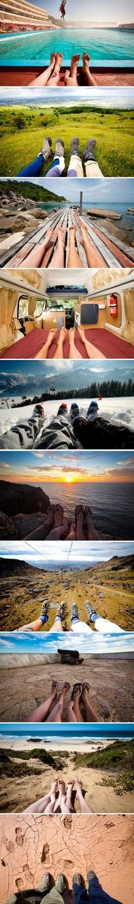 love this idea....take a photo like this as you travel the world with a loved one