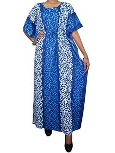 Gift Idea Womans Caftan Batik Cotton Printed Long Kaftan Beach Coverup Blue Large Mogul Interior http://www.amazon.com/dp/B00PIKGFBK/ref=cm_sw_r_pi_dp_6y0yub0FNSXV2