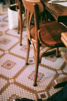 The floor! Paris via B Ferry Handmade tiles can be colour coordinated and customized re. shape, texture, pattern, etc. by ceramic design studios French Coffee Shop, French Bistro, Bistro Kitchen, Cafe Bistro, Parisian Cafe, Waffle House, Cafe Style, Handmade Tiles, Ceramic Design