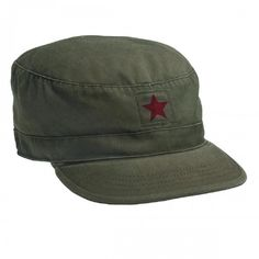 Vintage Olive Drab Fatigue Cap with Red Star
