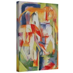 'Elephant, Horse and Cow' by Franz Marc Gallery Wrapped on Canvas