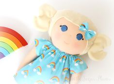 Handmade rainbow cloth doll  Littlesugarplums.co.uk Princess Peach, Disney Princess, Doll Clothes, Disney Characters, Fictional Characters, Cinderella, Rainbow, Sugar, Dolls