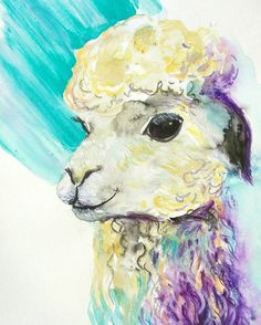 Check out this item in my Etsy shop https://www.etsy.com/listing/498038327/cheerful-lama-original-watercolor-ink