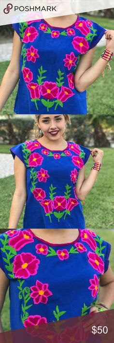 """New Embroidered Blouse Floral Embroidery Blue Pink Absolutely unique! This Boho style top was made in Mexico exclusively for Cielito Lindo Mexican Boutique! OOAK unique! Armpit to armpit 19.75"""" Neck to bottom hem line 24"""" Sleeveless. Embroidered 100% by hand using a sewing machine, colorful floral design, cotton fabric fresh and lightweight. Size 6 based on measurements. Cielito Lindo is located in Mcallen TX visit us to see our variety of Mexican items! Or visit…"""