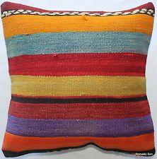 (40*40cm, 16inch) Boho hand woven kelim cushion cover rainbow striped