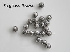 20 Tibetan Style Beads, Round Beads, Antique Silver,  9.5mm Heart design by SkylineBeads on Etsy