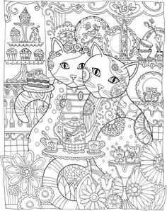 Creative Adult Coloring Book Pages Cats, coloring pages tea mandalas and cats download this fun coloring