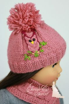 PDF Knitting Pattern SS2016-K06. Owl Hat and by SwishAndSwirl