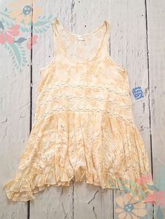 5767fb35ece Free People Voile Trapeze Lace Inset Slip Dress Natural Floral Print XS