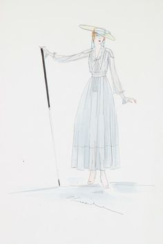 Lucile Studio fashion sketches, circa 1916. two signed, lawn summer dress with swagger stick; and a grey taffeta day dress with polonaised skirts and fichu, an Hellenic inspired gown in pink and yellow, -