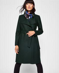 Ted Baker Wool-blend long wrap coat Dark Green
