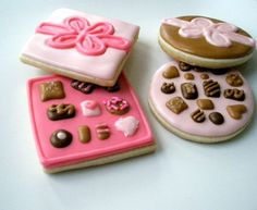 Items similar to Valentine's Gift set Adorable Chocolate Boxes total of 18 cookies on Etsy