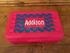 Personalized Chevron Pencil Box / Art Supply Container/ Bead box by MonogramCollection on Etsy