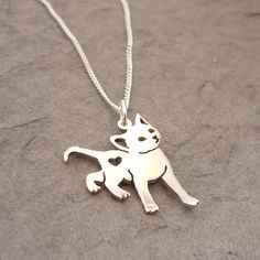 Kitty Cat Heart Sterling Silver Handmade Pendant от starbrightgirl