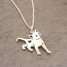 Kitty Cat Heart Sterling Silver Handmade Pendant. $38.00, via Etsy.