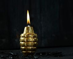 Gold Hand Grenade Oil Lamp by Piet Houtenbos