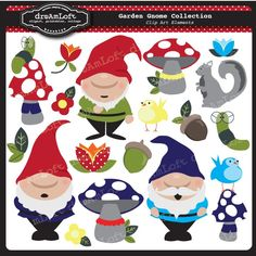 Garden Gnome Collection Clip Art Clipart Elements Collage Sheet for cards, birthday themes, stationary, invitations, scrapbooking. $4.99, via Etsy.
