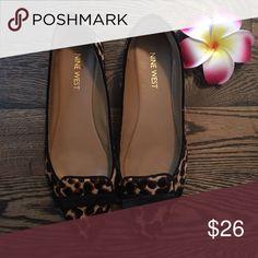 Nine West Animal Print Pumps Nine West animal print kitten heel pumps. Has a faux fur texture. Nine West Shoes Heels