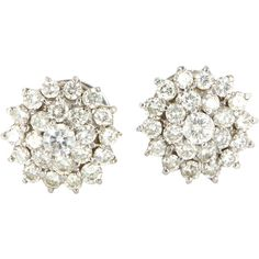 Pre-Owned Vintage 1.62ct Diamond Round Cluster Earrings 14k White Gold (7.125 BRL) ❤ liked on Polyvore featuring jewelry, earrings, no color, butterfly earrings, diamond cluster earrings, vintage jewelry, white gold earrings and diamond butterfly earrings