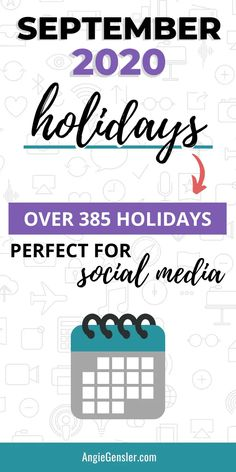 Looking for weird, fun, or special holidays to celebrate on social media? Check out this massive list of over 385 holidays for September 2020. #Holidays #SocialMedia #AngieGensler Social Media Design, Social Media Content, Social Media Tips, Social Media Marketing, Direct Marketing, Marketing Strategies, Digital Marketing, Facebook Marketing, Content Marketing