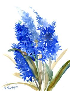 Blue Hyacinth, Original watercolor floral painting, watercolor flowers, 14 X 11 in