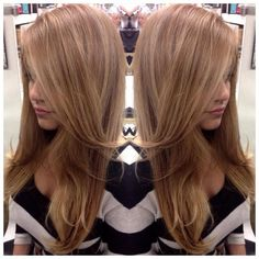 Gorgeous hair color..maybe a beige blonde? Deepened base, raised ombré long layer by perkfectionhair.
