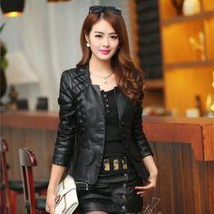 2016 Autumn leather jacket women casual long sleeve faux short coat fashion mosaic plus size PU cheap bomber jacket femininas