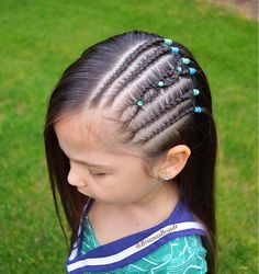 Side cornrows with little gems to brighten up another rainy day💚 . Lil Girl Hairstyles, Down Hairstyles, Let Your Hair Down, Toddler Hair, Big Hair, Braid Styles, Hair Dos, Afro, Curly Hair Styles