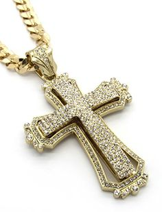 Mens Large Hollow Cross Gold Plated Iced Out Pendant 30 Inch Necklace Cuban Chain G09 - Jewelry For Her