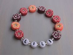 flower beads Personalized name bracelet girls beaded name