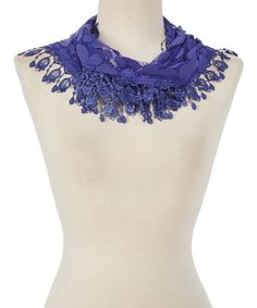 Royal Blue Oval-Fringe Scarf. - .  TAN's. - .  $9.99 Compare at $39.00  . Product Description:  This versatile scarf flaunts circular fringe accents and a dot print for a playful pop of texture. Lightweight cotton-blend fabric promises season-spanning style.      12'' x 56''  .     70% polyester / 30% cotton  .     Hand wash; hang dry  .     Imported
